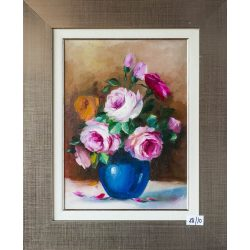 The rose in the blue vase