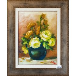 White rose and yellow rose in a vase